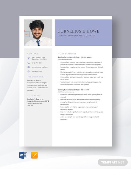Gaming Surveillance Officer Resume Template