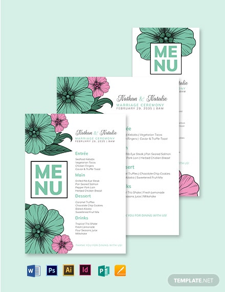 Ceremony Wedding Menu Template