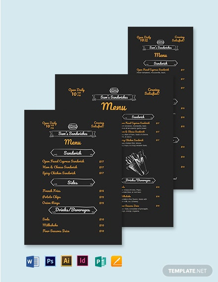 Chalk Board Sandwich/ Sub Menu Template