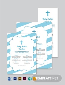 Church Baptism Menu Template