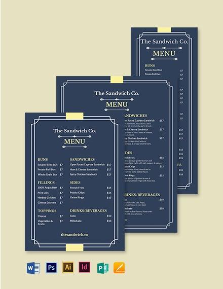 classy classic sandwich sub menu template