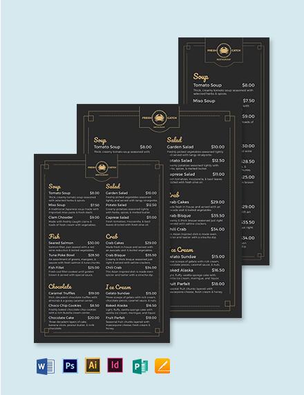 Classy/Classic Seafood Menu Template