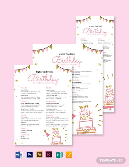 Custom Birthday Menu Template