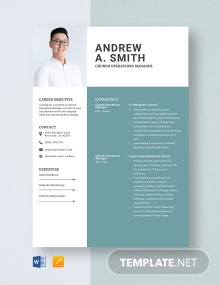 Church Operations Manager Resume Template