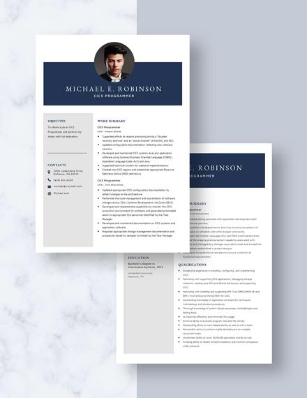 CICS Programmer Resume Download