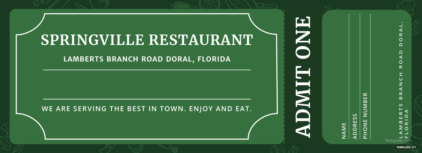 Meal ticket template in adobe illustrator photoshop for Ticket template for mac
