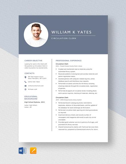 Circulation Clerk Resume Template
