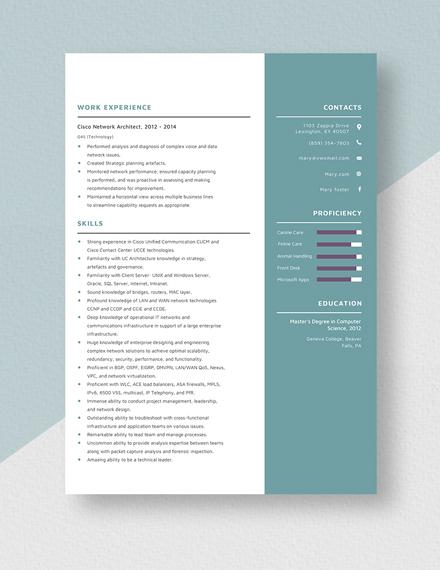 Cisco Network Architect Resume Template