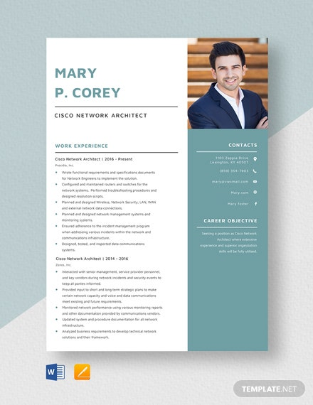 Cisco Network Architect Resume Template