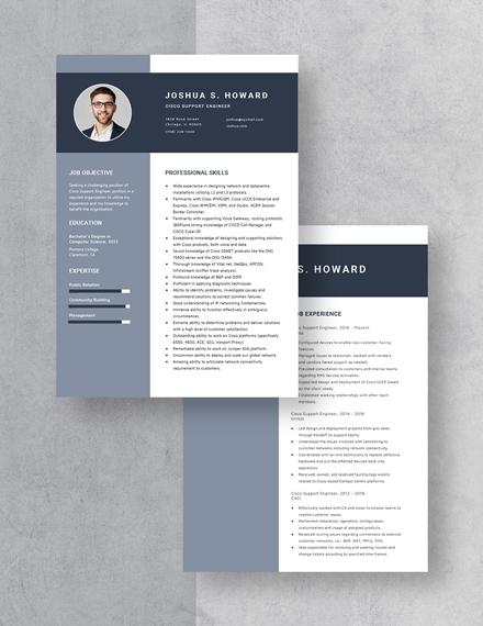 Cisco Support Engineer Resume Download