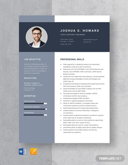 Cisco Support Engineer Resume Template