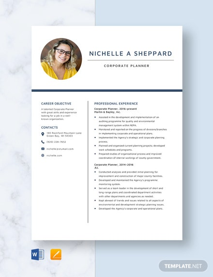 Corporate Planner Resume Template