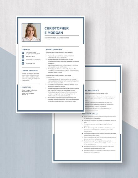 Corporate Real Estate Director Resume Download