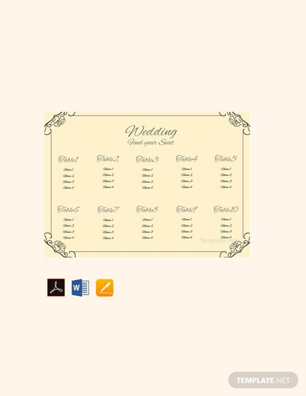 Free Vintage Wedding Seating Chart Template