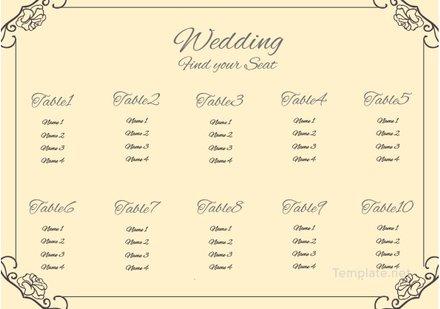 Vintage Wedding Seating Chart Template