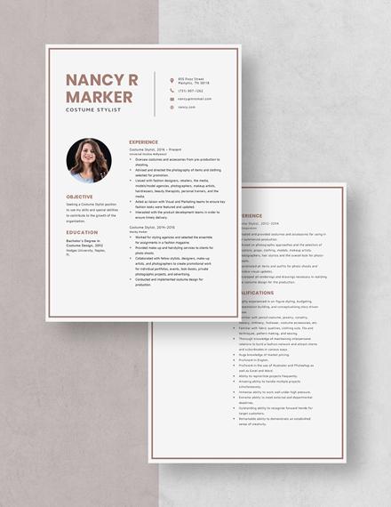 Costume Stylist Resume Download