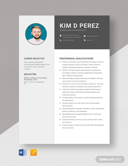 Counseling Psychologist Resume Template