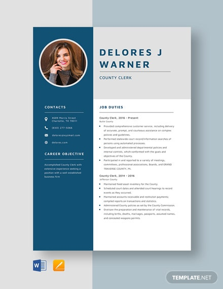 County Clerk Resume Template