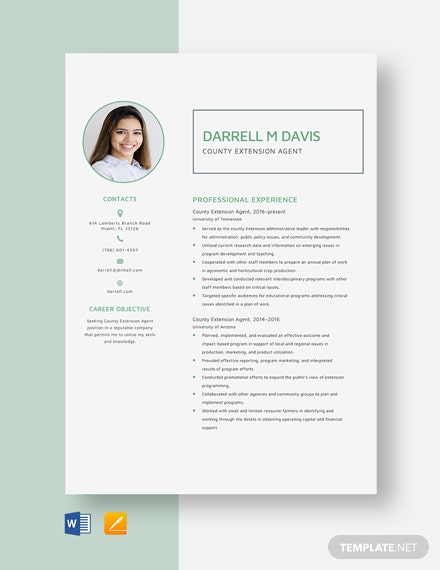 County Extension Agent Resume