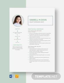 County Extension Agent Resume Template