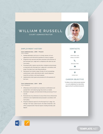 Court Administrator Resume Template