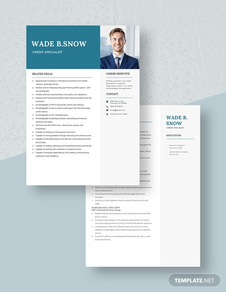 credit specialist resumecv template  word  apple pages