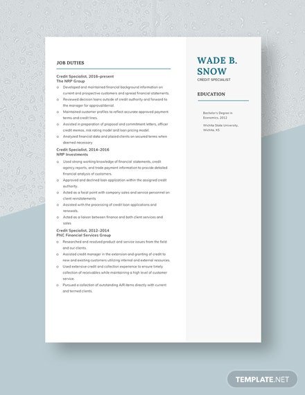 Credit Specialist Resume Template