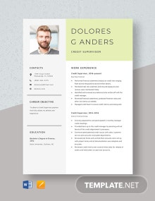 Credit Supervisor Resume Template
