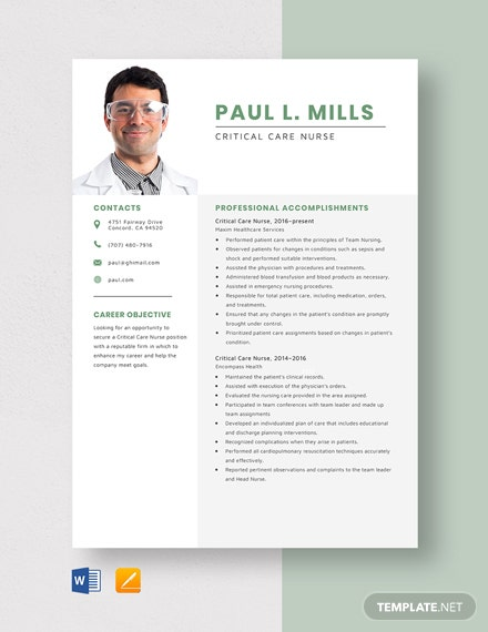 Critical Care Nurse Resume Template