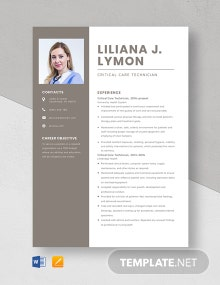 Critical Care Technician Resume Template