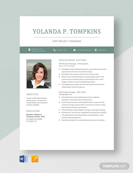 CRM Project Manager Resume Template