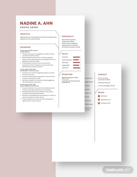 Cruise Agent Resume Download