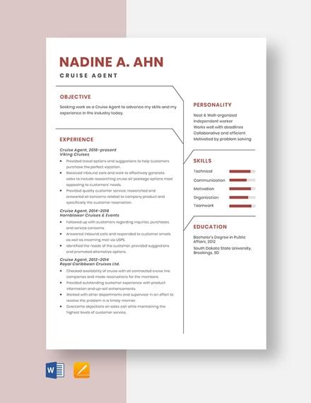 Cruise Agent Resume