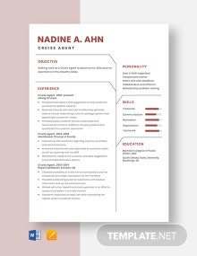 Cruise Agent Resume Template