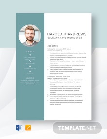 Culinary Arts Instructor Resume Template