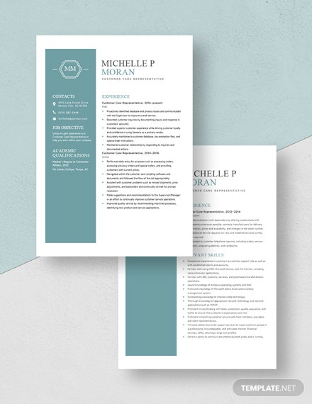 Customer Care Representative Resume Download