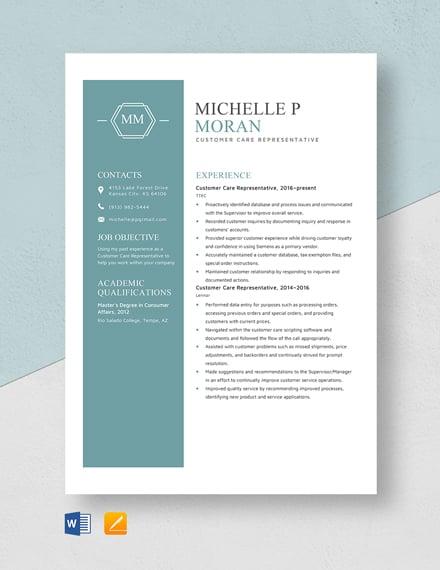 Customer Care Representative Resume Template