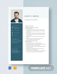 Dermatology Assistant Resume Template