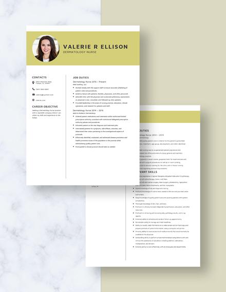 Dermatology Nurse Resume Download