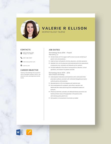 Dermatology Nurse Resume
