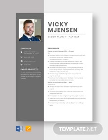 Design Account Manager Resume Template