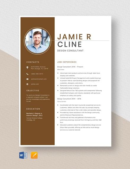 Design Consultant Resume Template