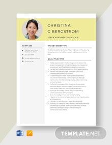 Design Project Manager Resume Template