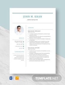 Drama Instructor Resume Template