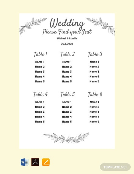 Free Printable Wedding Seating Chart Template Pdf Word Doc Excel Indesign Apple Mac Pages Apple Numbers Template Net