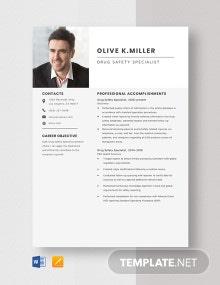 Drug Safety Specialist Resume Template