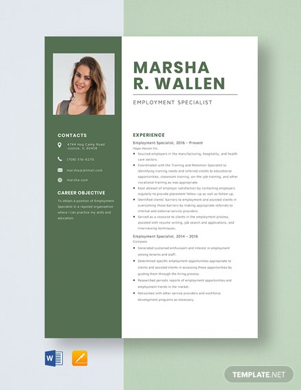 Employment Specialist Resume Template