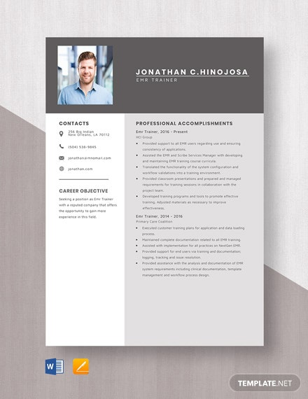Emr Trainer Resume Template