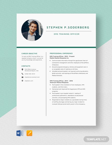 EMS Training Officer Resume Template