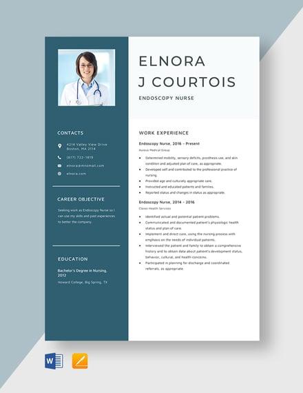 Endoscopy Nurse Resume Template